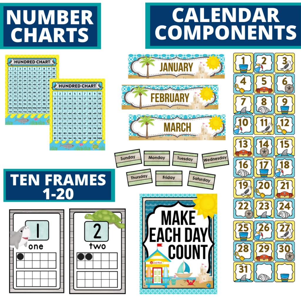DIY printable classroom calendar for elementary teachers using beach classroom theme decor
