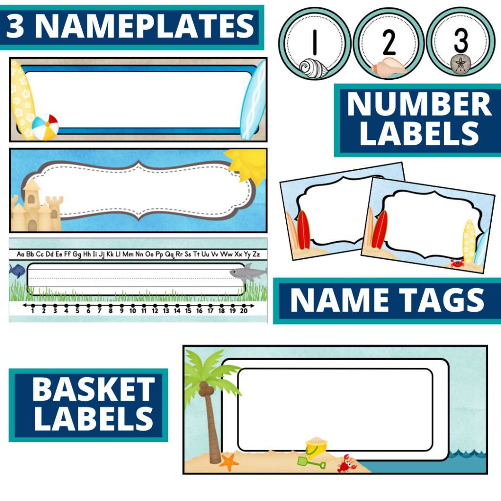 editable nameplates and basket labels for beach themed classroom