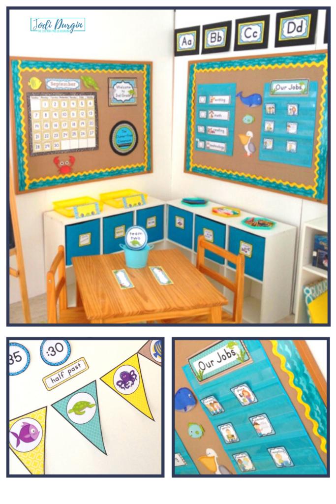 A classroom set up with a beach decor theme.