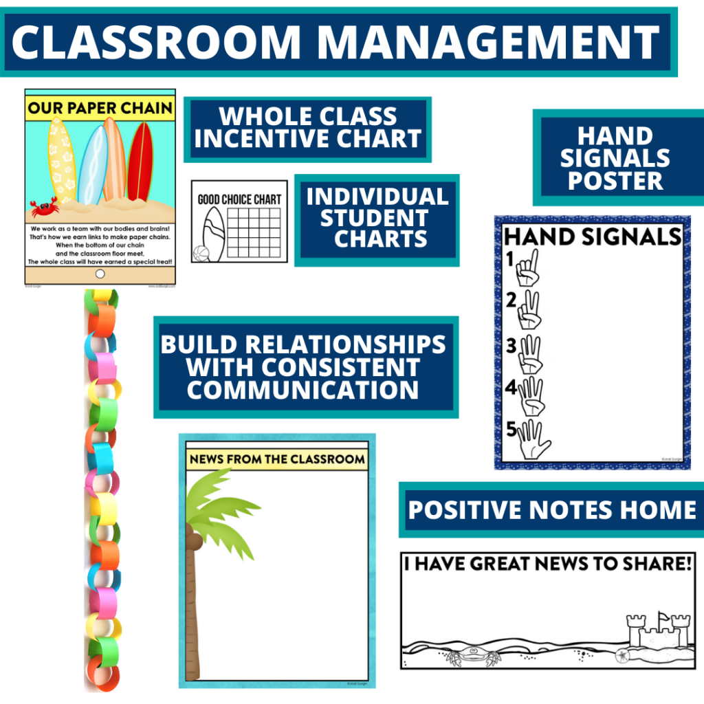 beach themed tools for improving student behavior in an elementary classroom