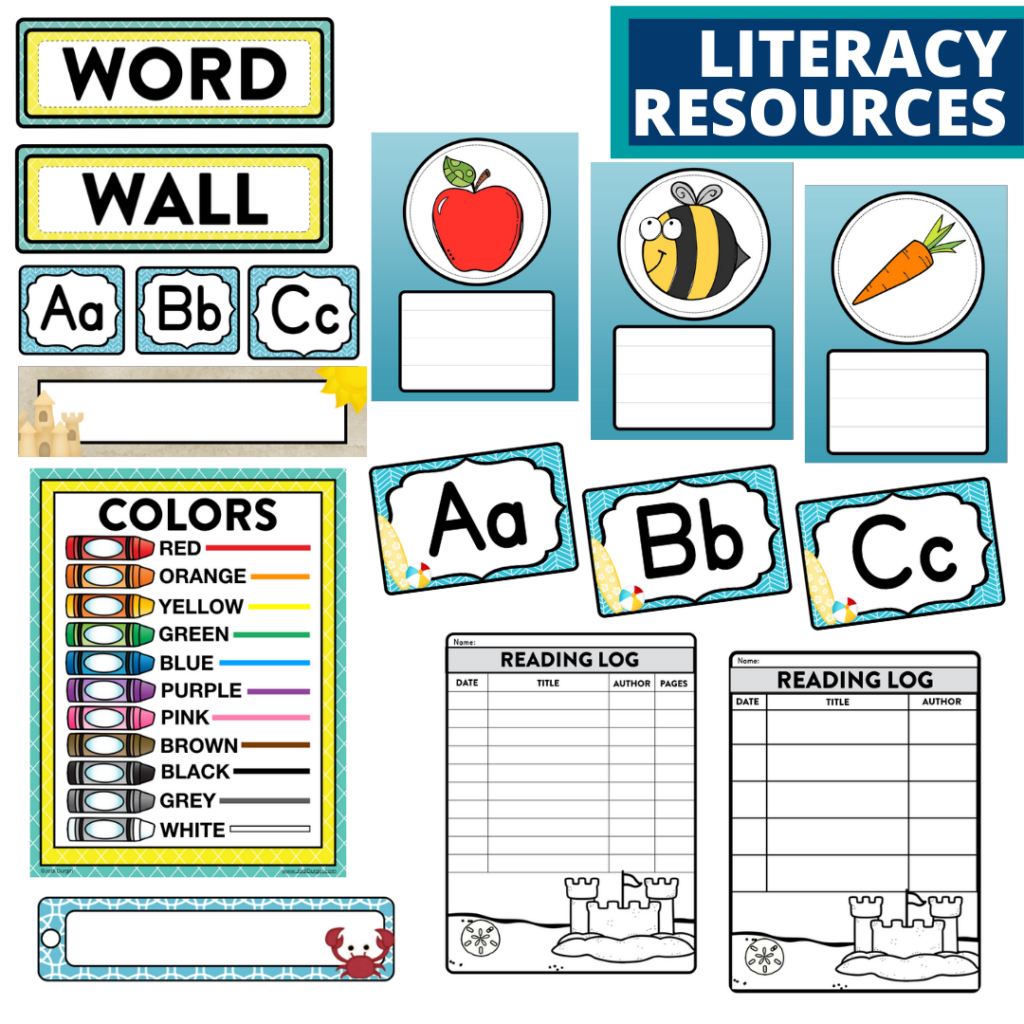 elementary classroom word wall and reading logs for a beach themed classroom