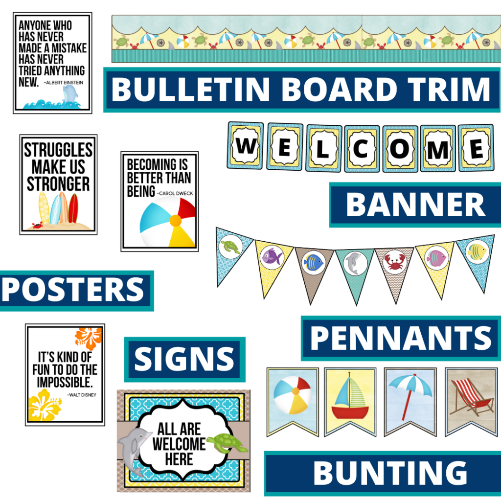 beach theme bulletin board trim with pennants, banner and bunting