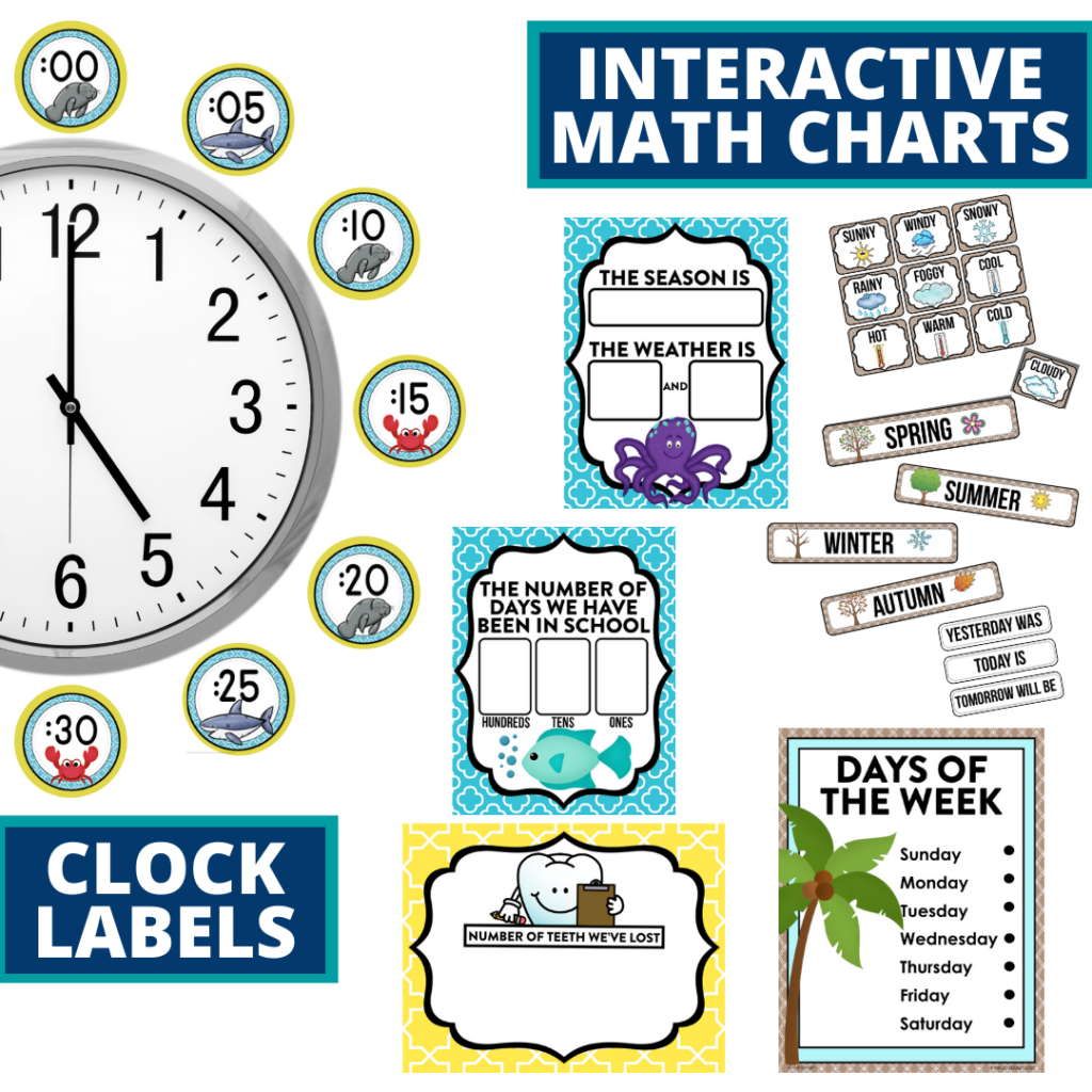 beach themed math resources for telling time, place value and the days of the week
