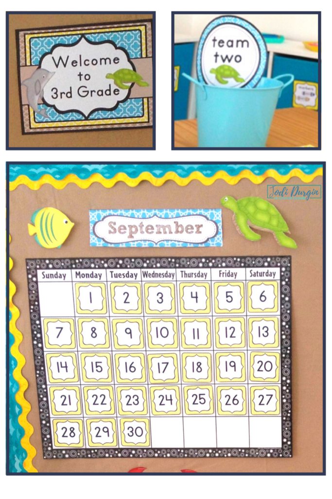A welcome sign, calendar, and labels for a beach themed classroom.
