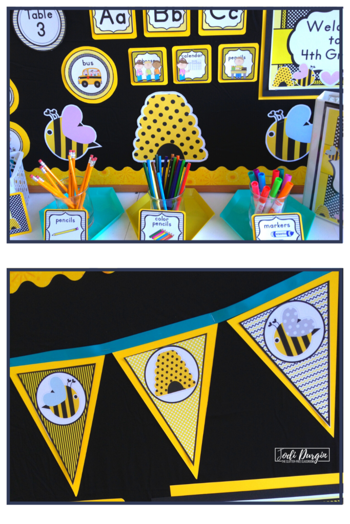 Bee themed decorations and labels.