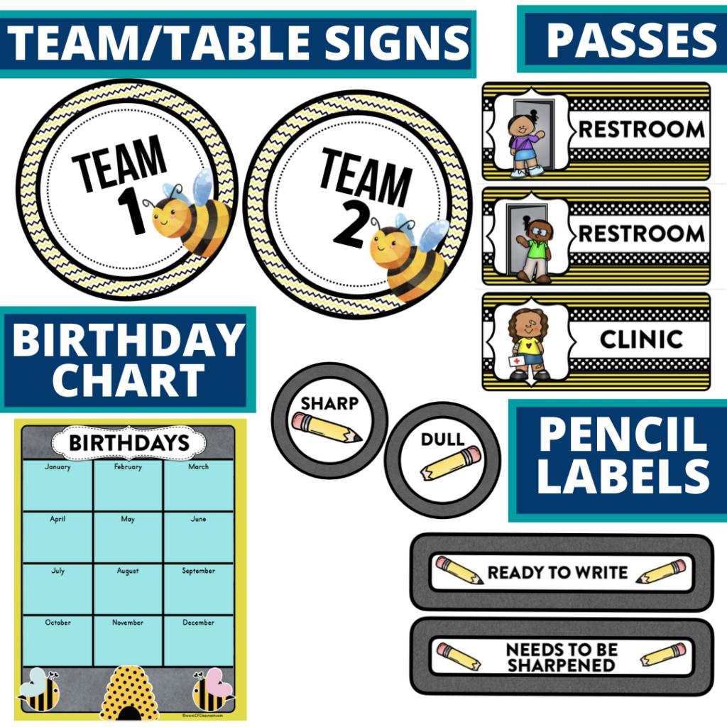 printable and editable bee theme classroom decor packets