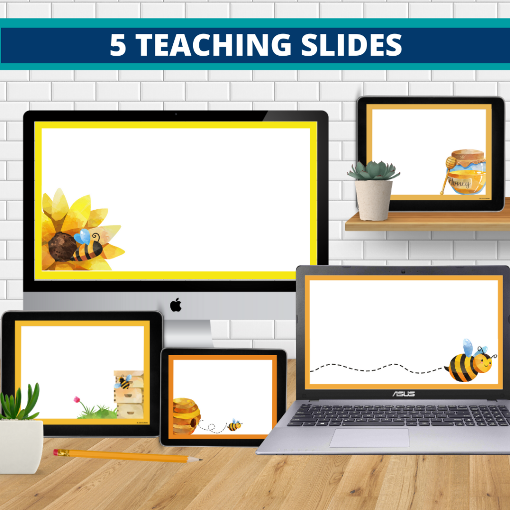 bee theme google classroom slides and powerpoint templates for elementary teachers shown on computers