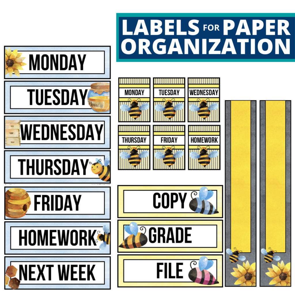 bee theme labels for paper organization in the classroom