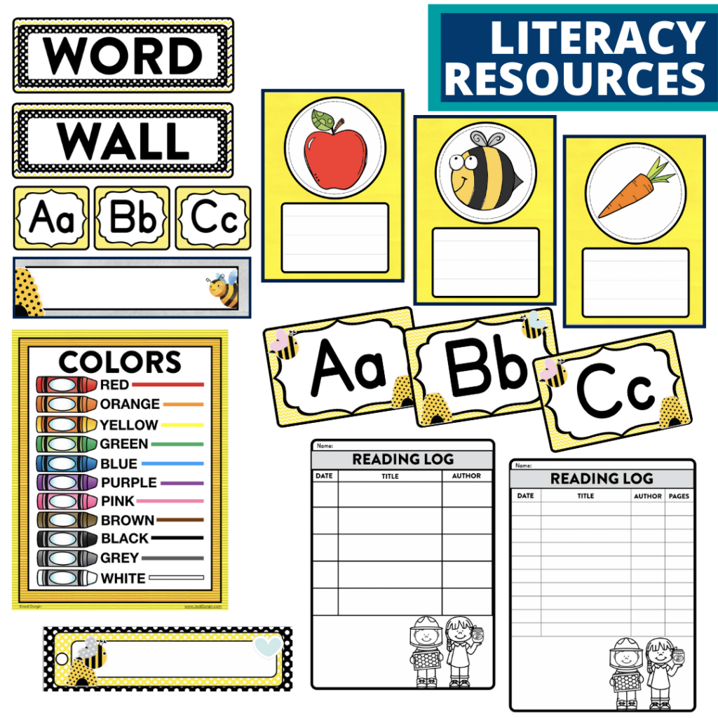 elementary classroom word wall and reading logs for a bee themed classroom