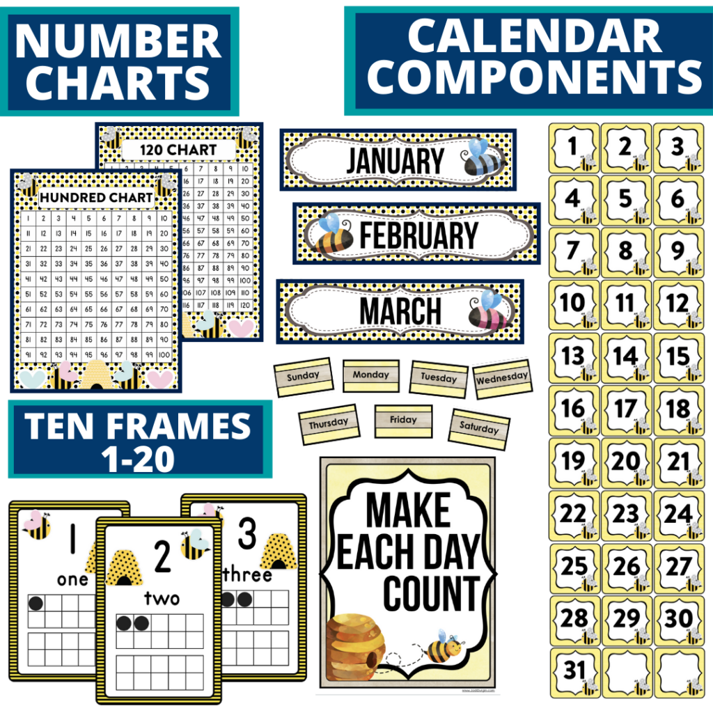 DIY printable classroom calendar for elementary teachers using a bee classroom theme