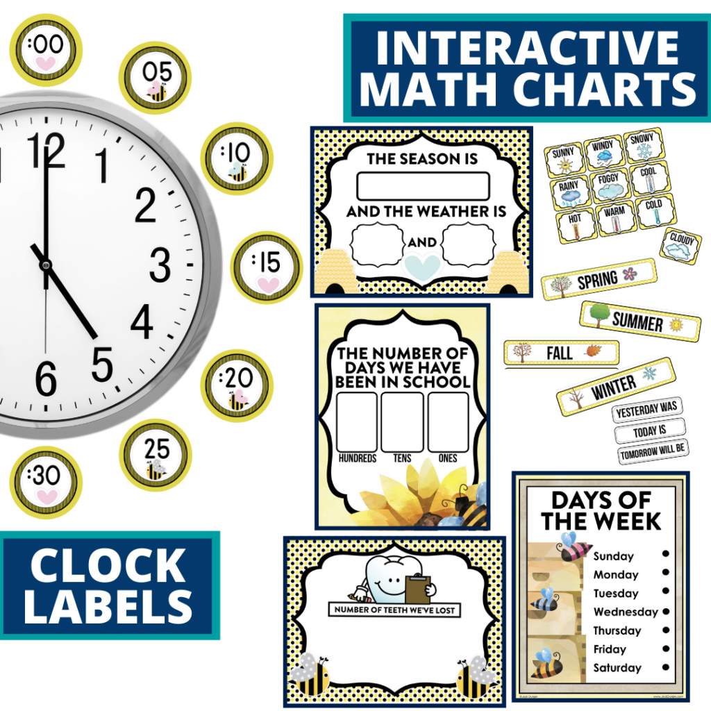 bee themed math resources for telling time, place value and the days of the week