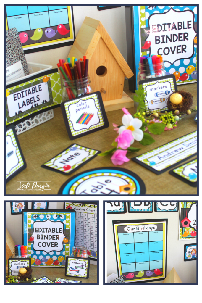 Editable signs and labels for a bird themed classroom.