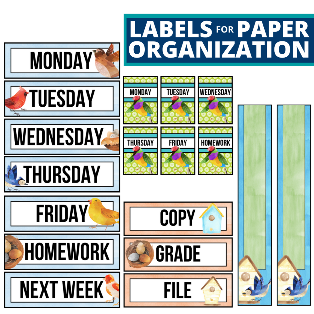 birds theme labels for paper organization in the classroom