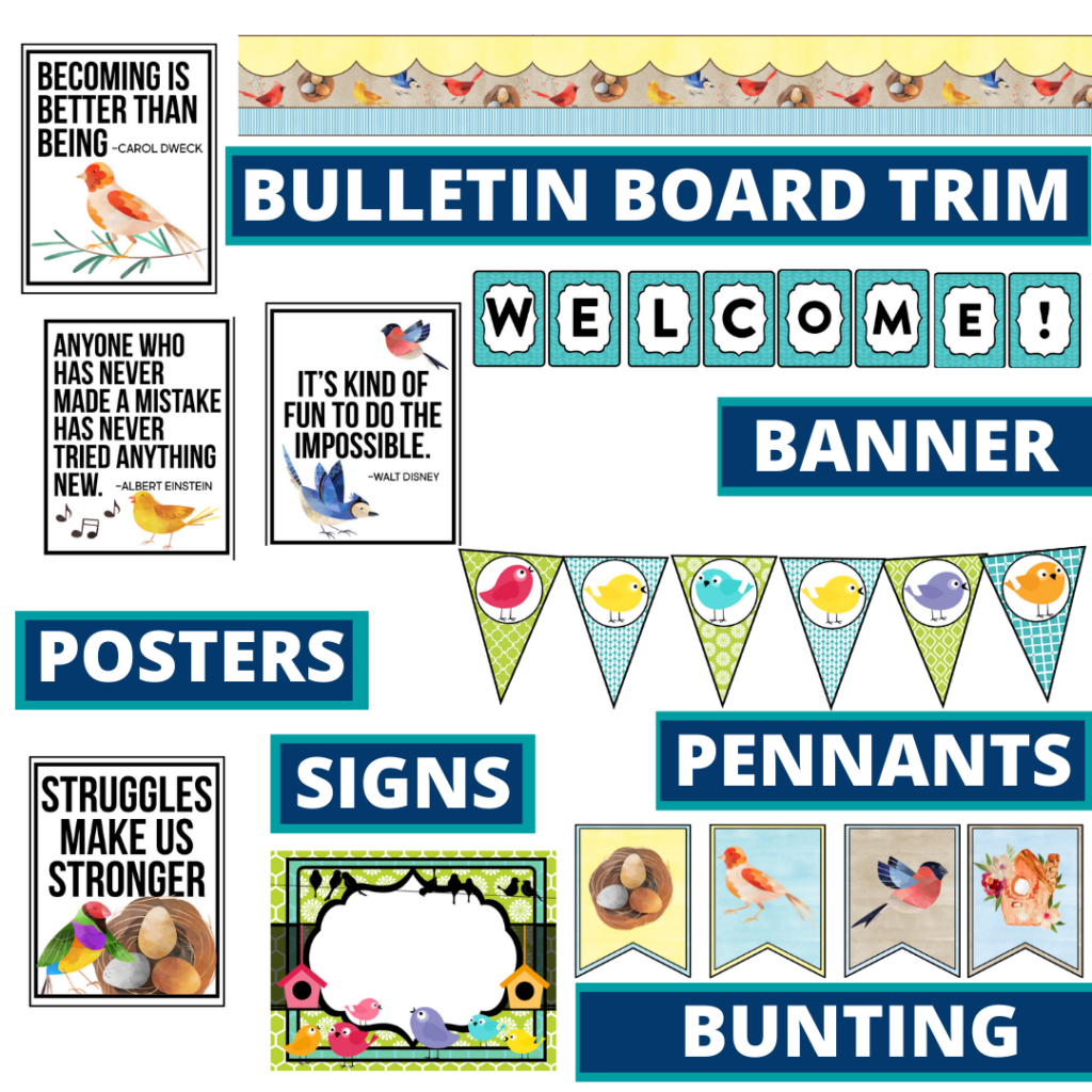 birds theme bulletin board trim with pennants, banner and bunting