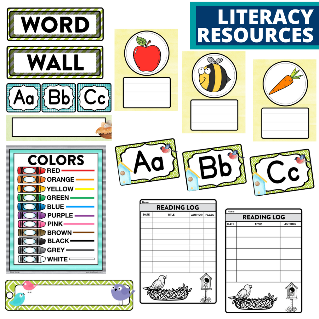 elementary classroom word wall and reading logs for a birds themed classroom