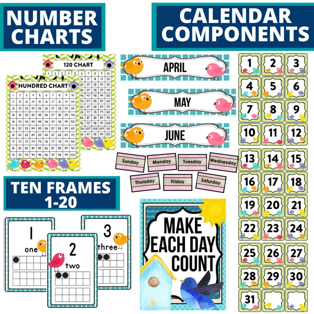 DIY printable classroom calendar for elementary teachers using a birds classroom theme