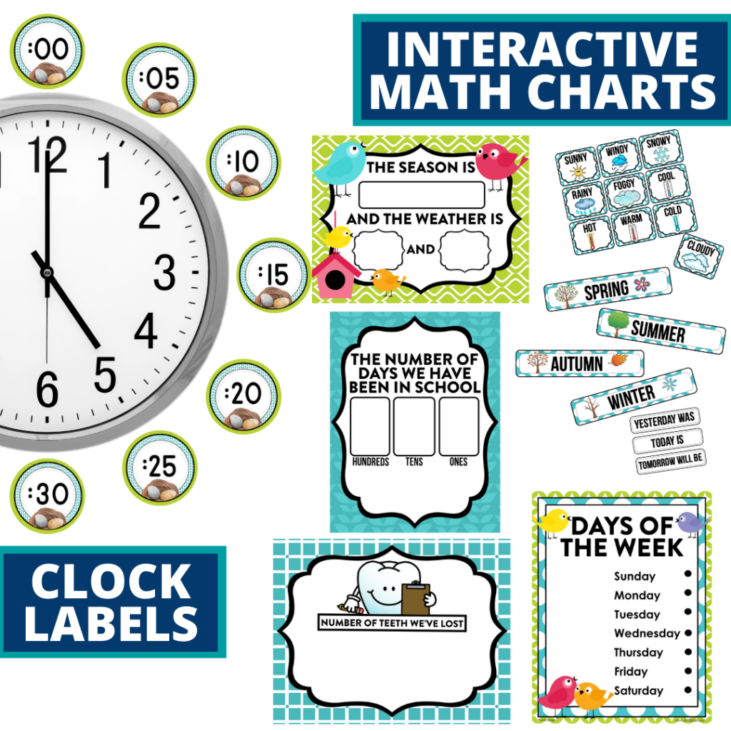 birds themed math resources for telling time, place value and the days of the week