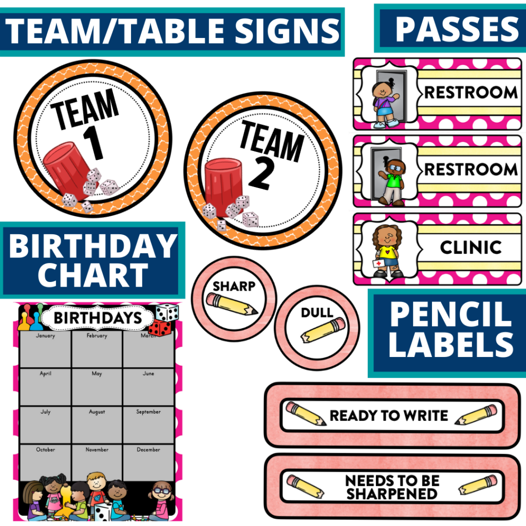 printable and editable board games theme classroom decor packets
