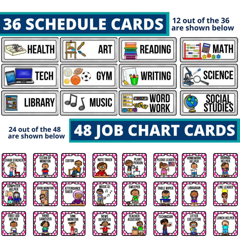 editable elementary schedule cards and job chart labels with a board games theme