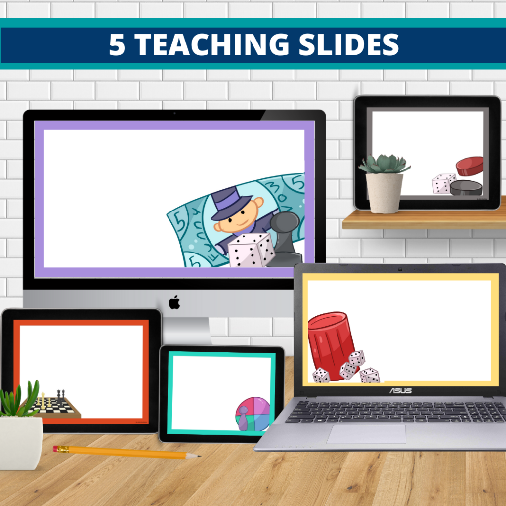 board games theme google classroom slides and powerpoint templates for elementary teachers shown on computers