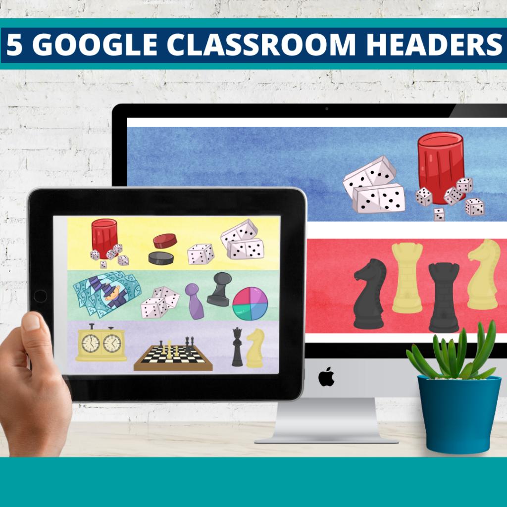 board games classroom themed google classroom headers and google classroom banners