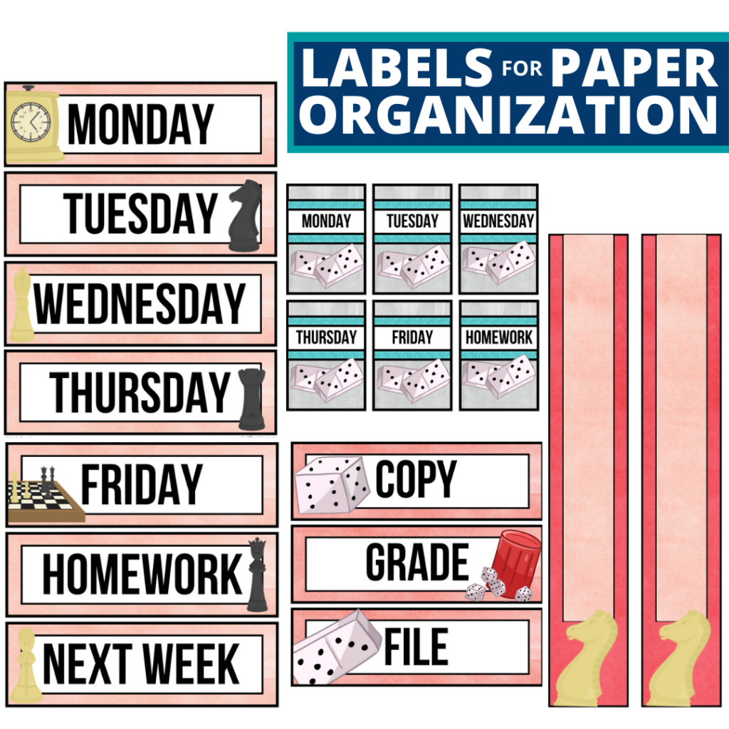 board games theme labels for paper organization in the classroom