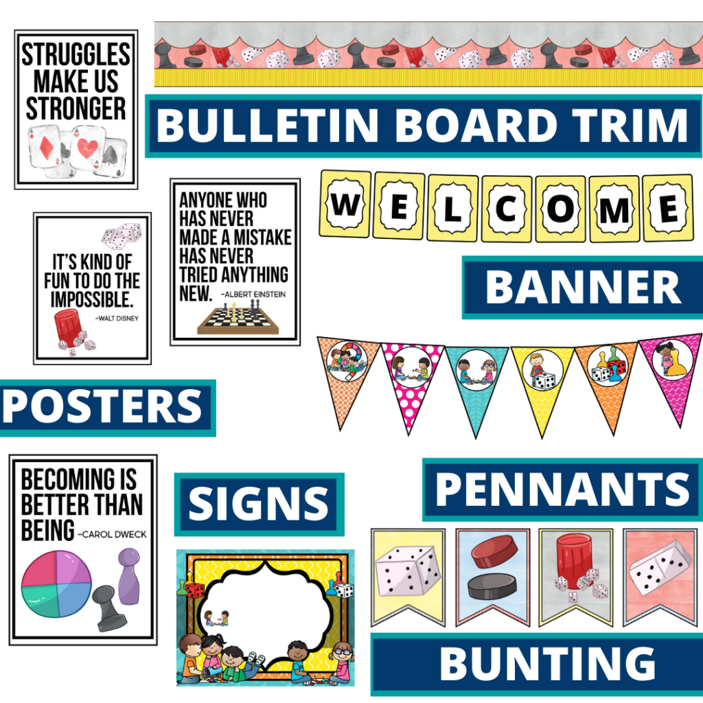 board games theme bulletin board trim with pennants, banner and bunting