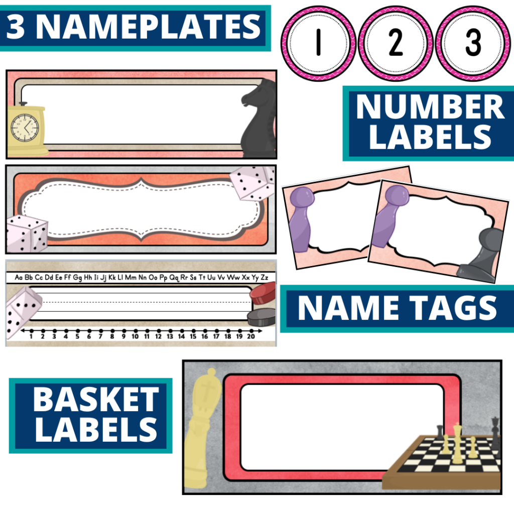 editable nameplates and basket labels for a board games themed classroom