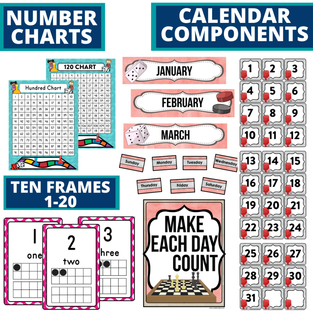 DIY printable classroom calendar for elementary teachers using a board games classroom theme