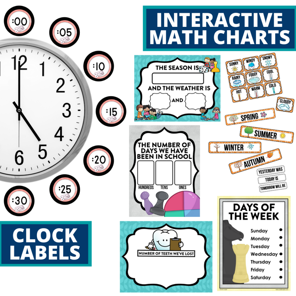 board games themed math resources for telling time, place value and the days of the week
