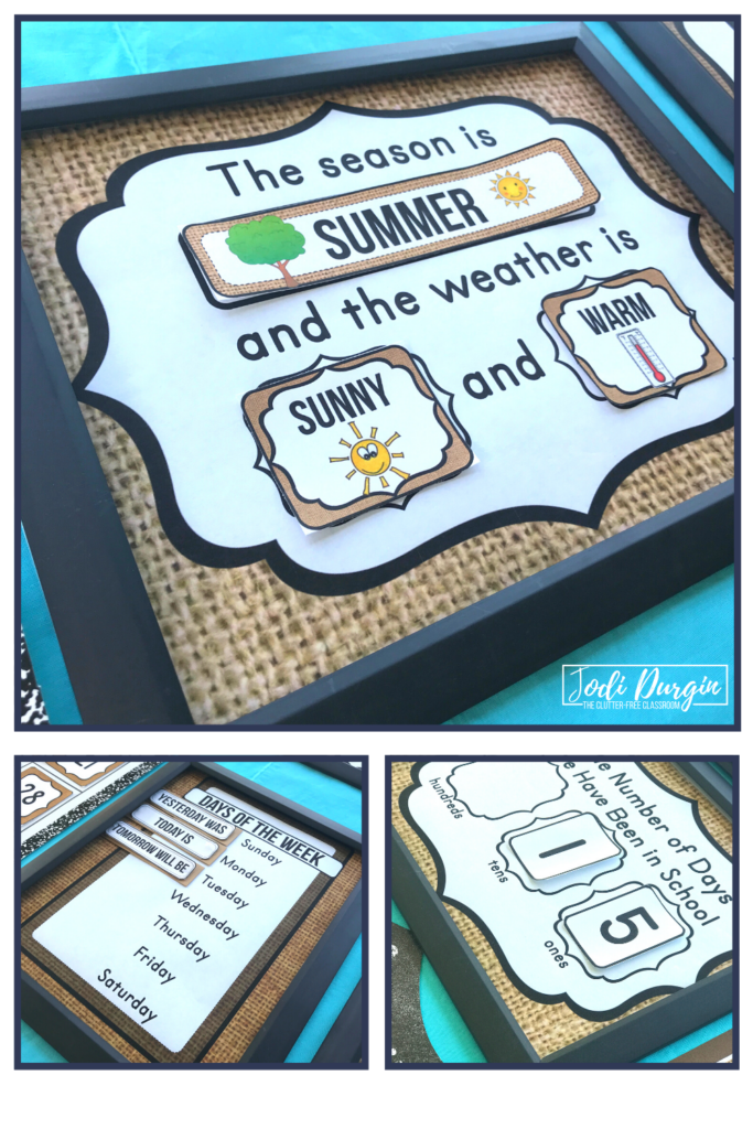 Interactive math charts for a burlap themed classroom.