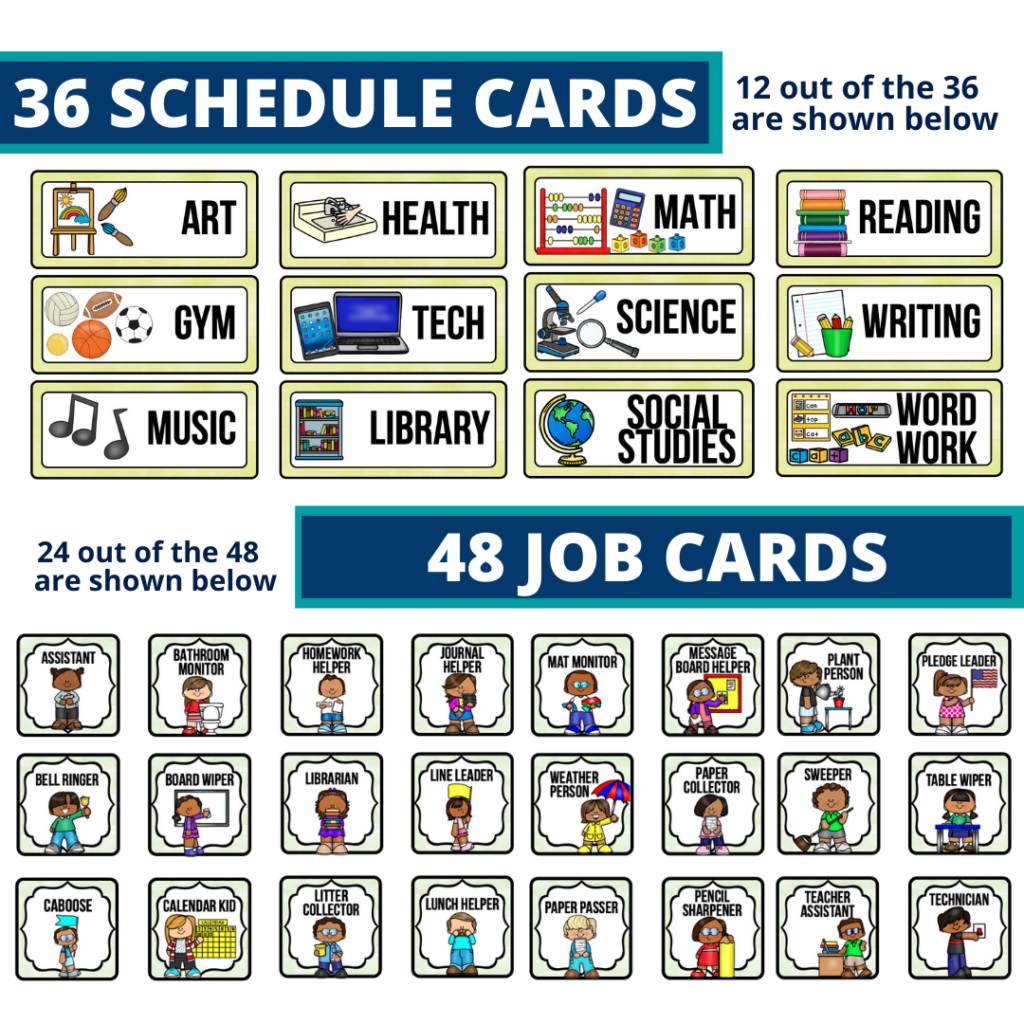 editable elementary schedule cards and job chart labels with a cactus theme