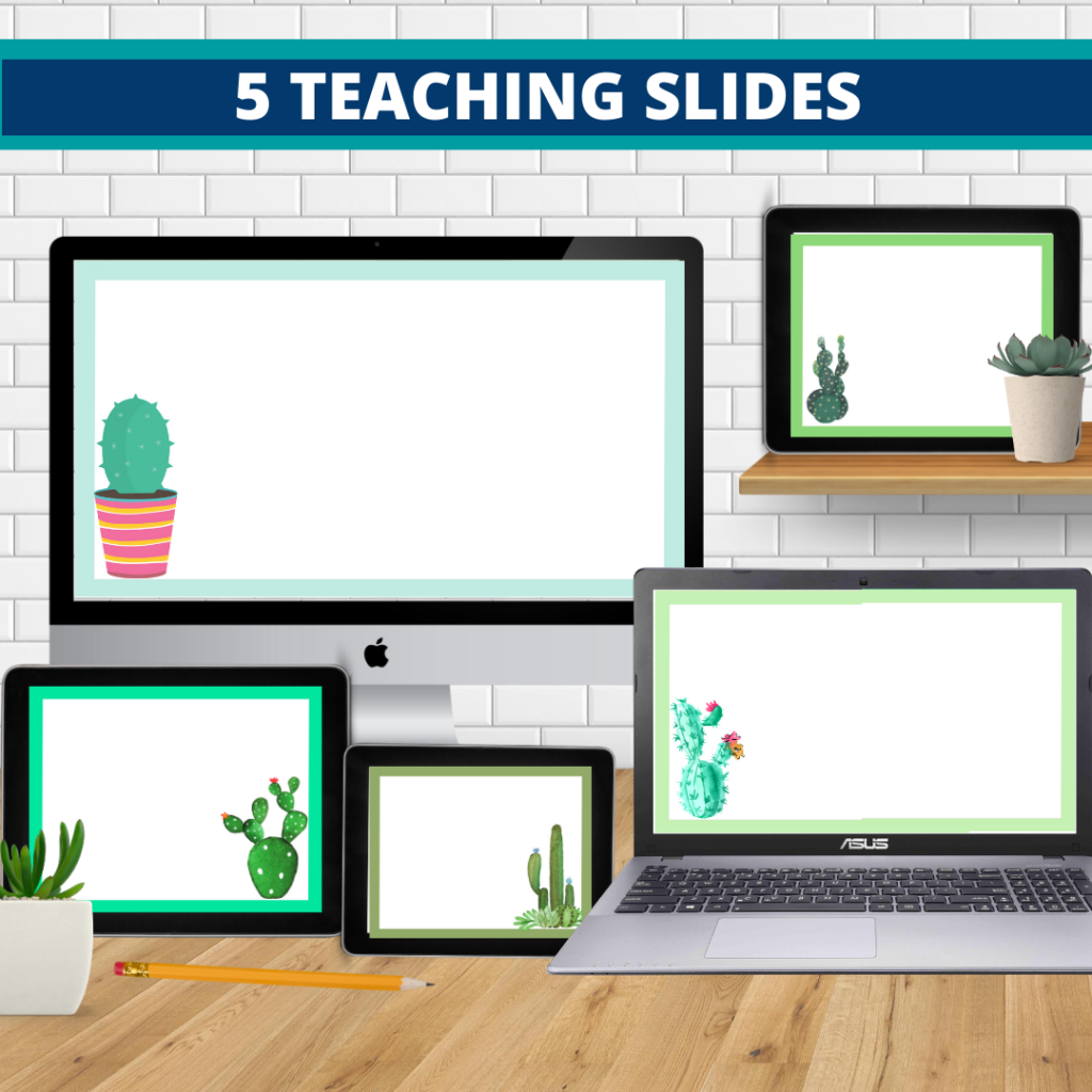 cactus theme google classroom slides and powerpoint templates for elementary teachers shown on computers