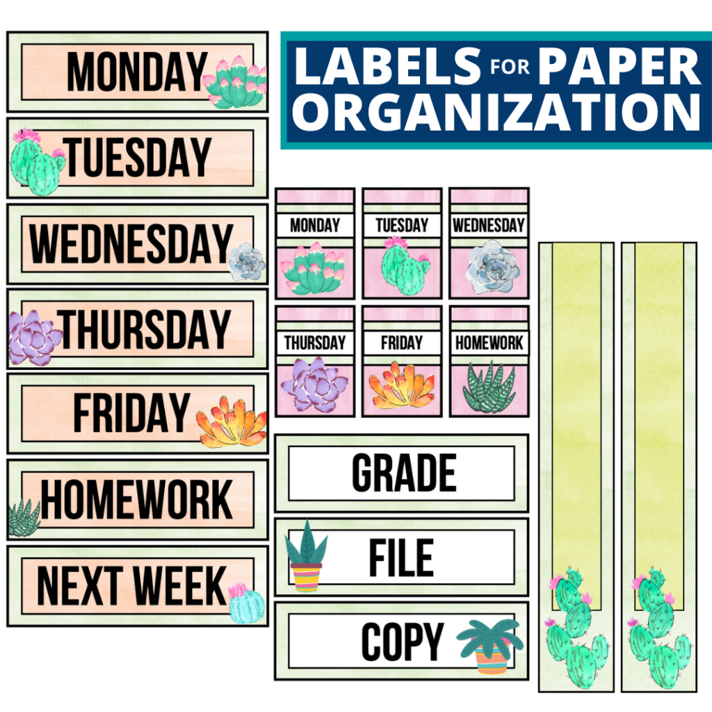 cactus theme labels for paper organization in the classroom