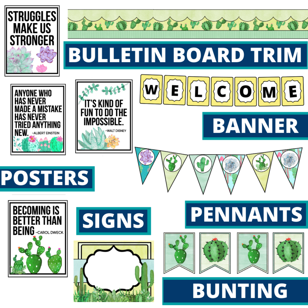 cactus theme bulletin board trim with pennants, banner and bunting