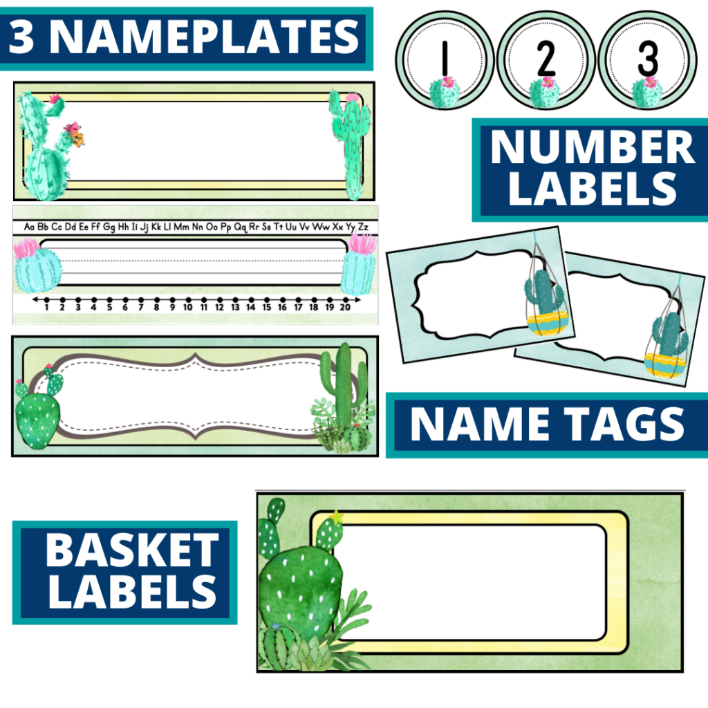 editable nameplates and basket labels for a cactus themed classroom