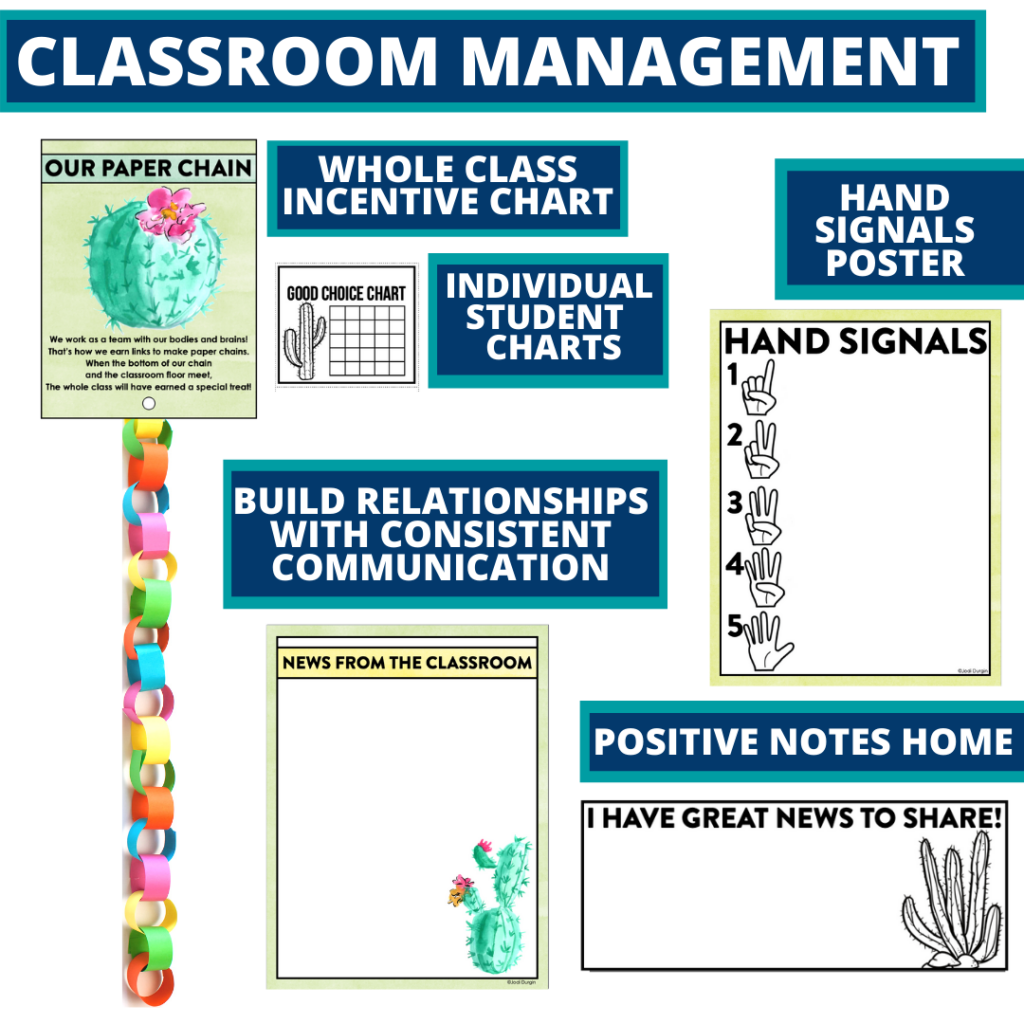 cactus themed tools for improving student behavior in an elementary classroom