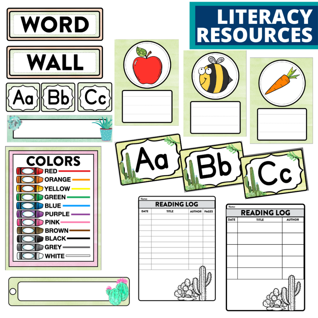 elementary classroom word wall and reading logs for a cactus themed classroom