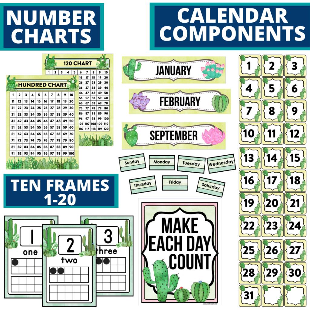 DIY printable classroom calendar for elementary teachers using a cactus classroom theme