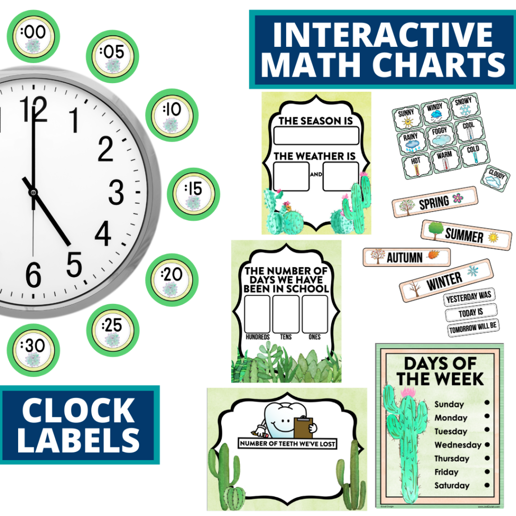 cactus themed math resources for telling time, place value and the days of the week