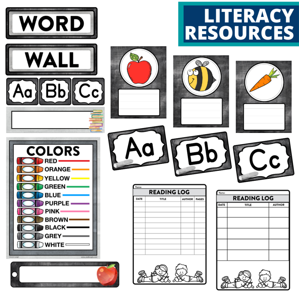 elementary classroom word wall and reading logs for a chalkboard themed classroom