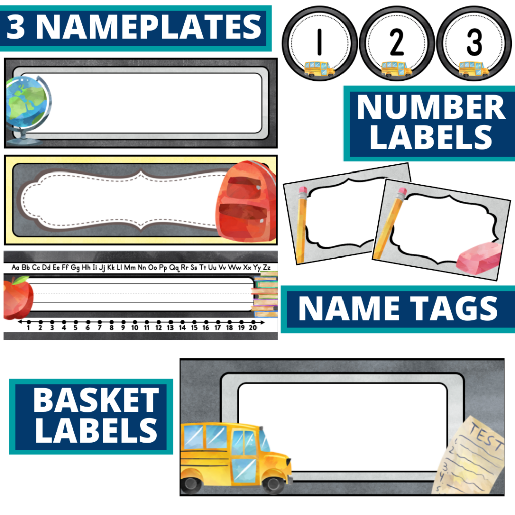 editable nameplates and basket labels for a chalkboard themed classroom