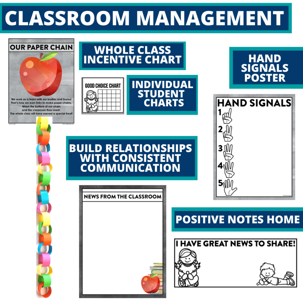 chalkboard themed tools for improving student behavior in an elementary classroom