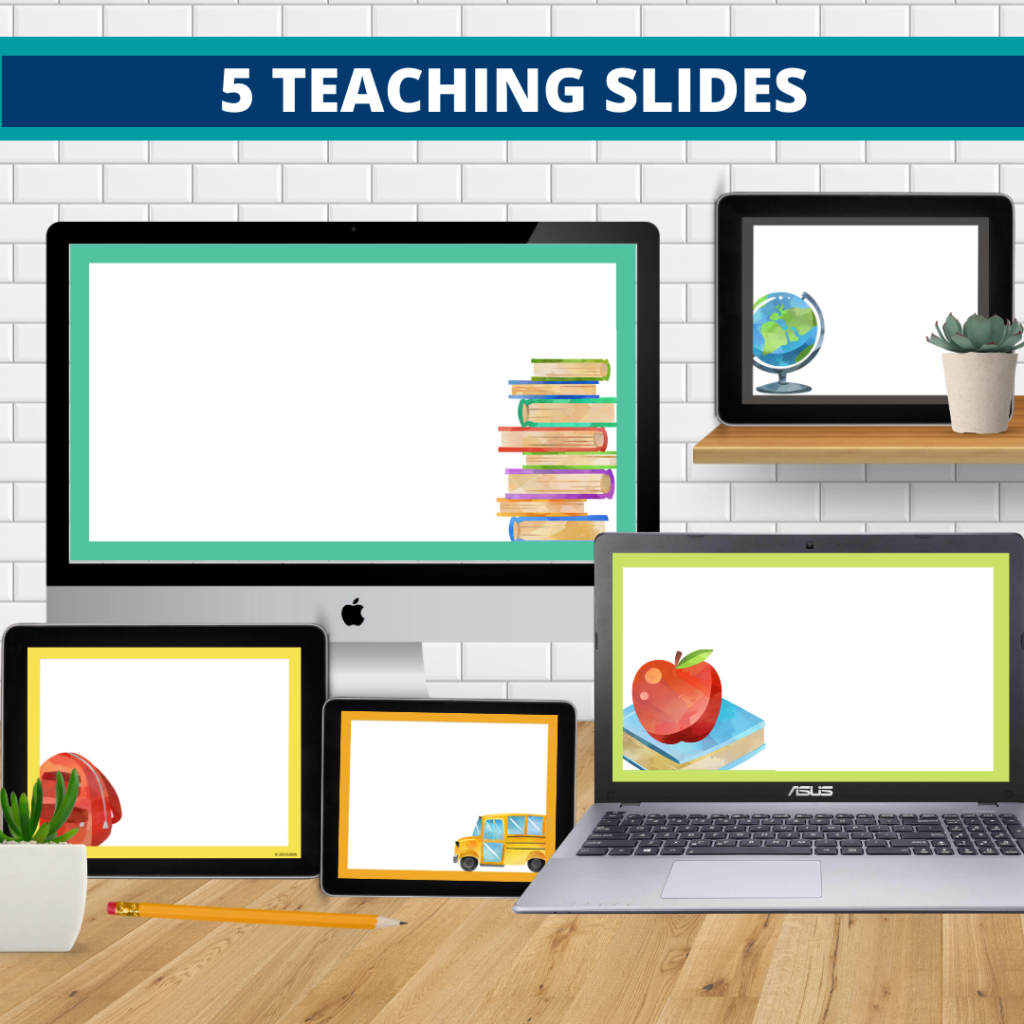 chalkboard theme google classroom slides and powerpoint templates for elementary teachers shown on computers