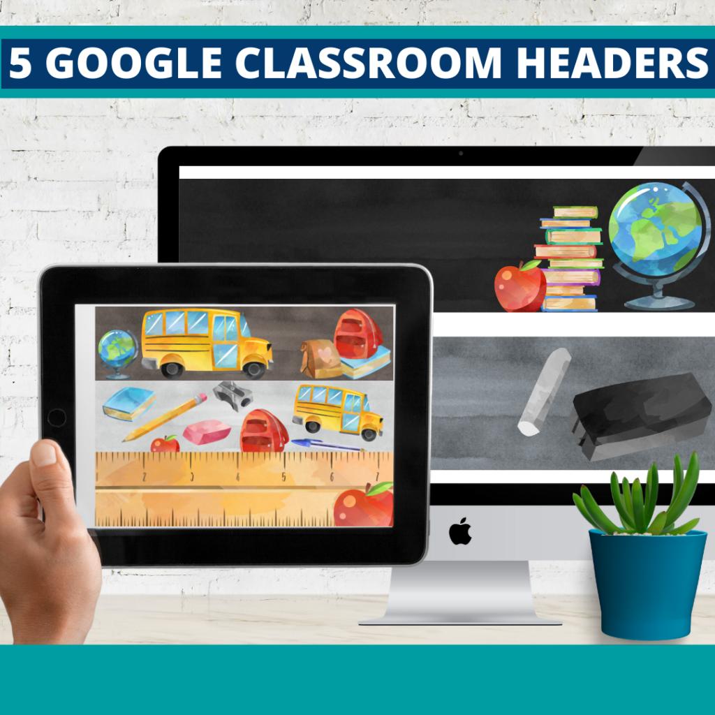 chalkboard classroom themed google classroom headers and google classroom banners