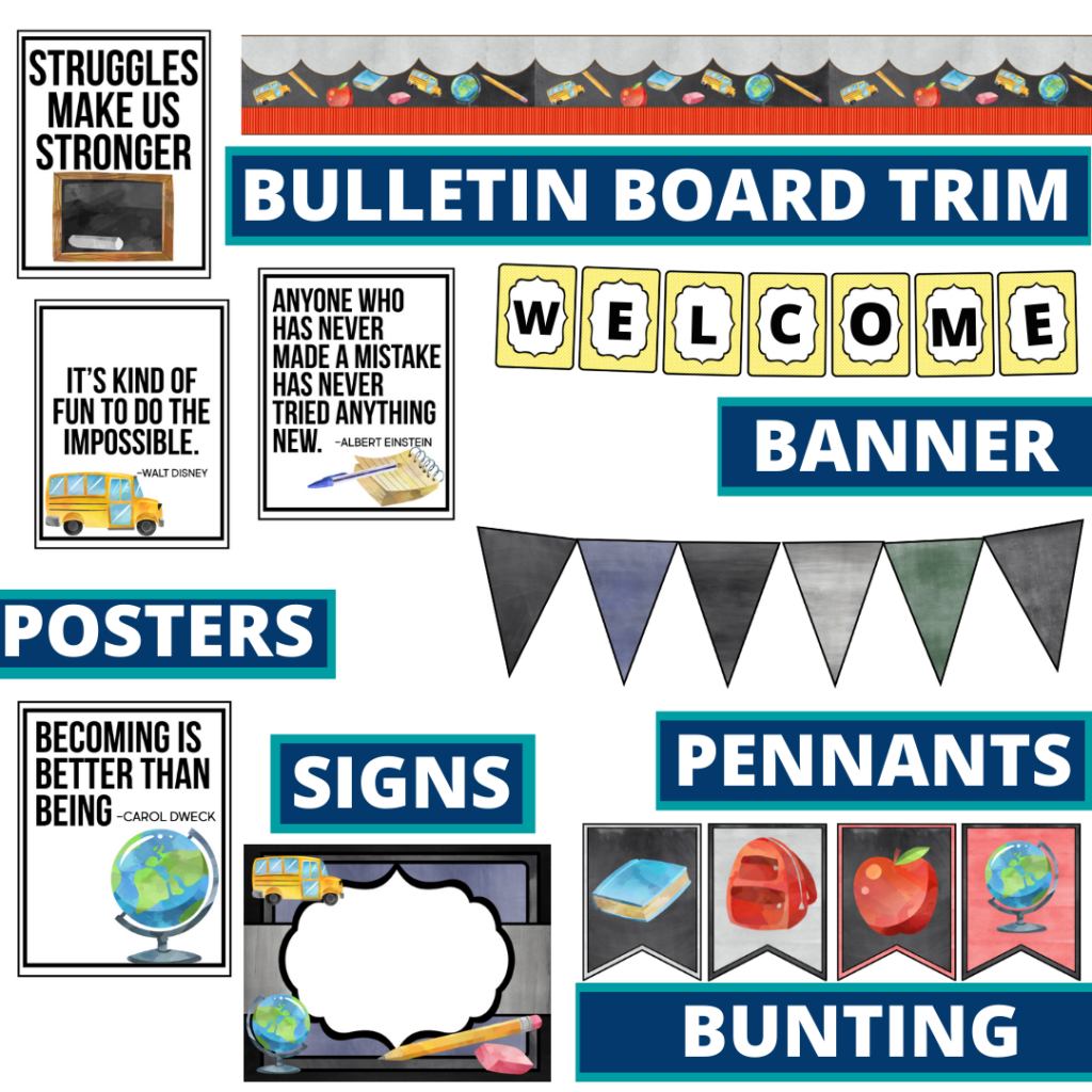 chalkboard theme bulletin board trim with pennants, banner and bunting