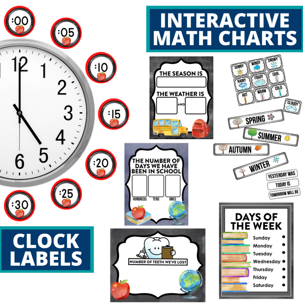 chalkboard themed math resources for telling time, place value and the days of the week