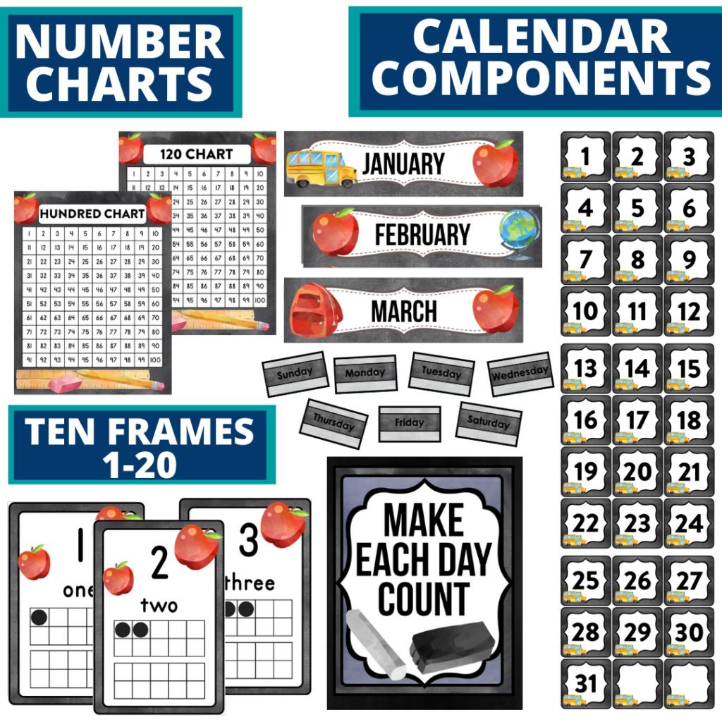 DIY printable classroom calendar for elementary teachers using a chalkboard classroom theme