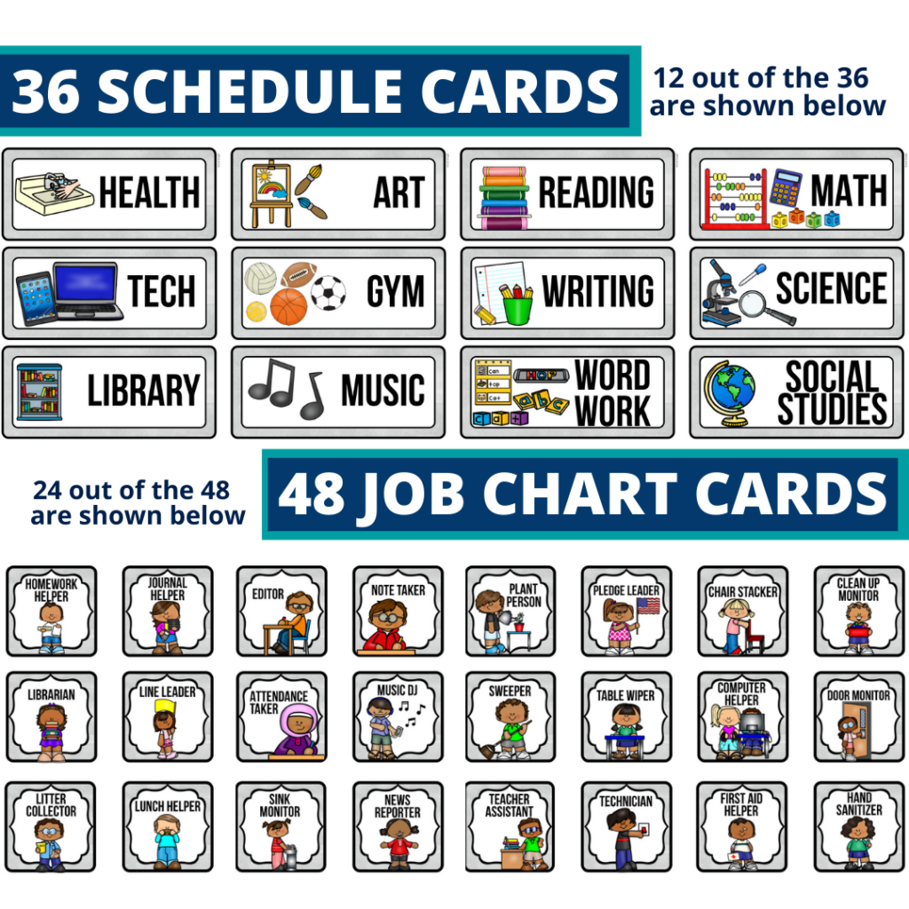 editable elementary schedule cards and job chart labels with a chalkboard theme