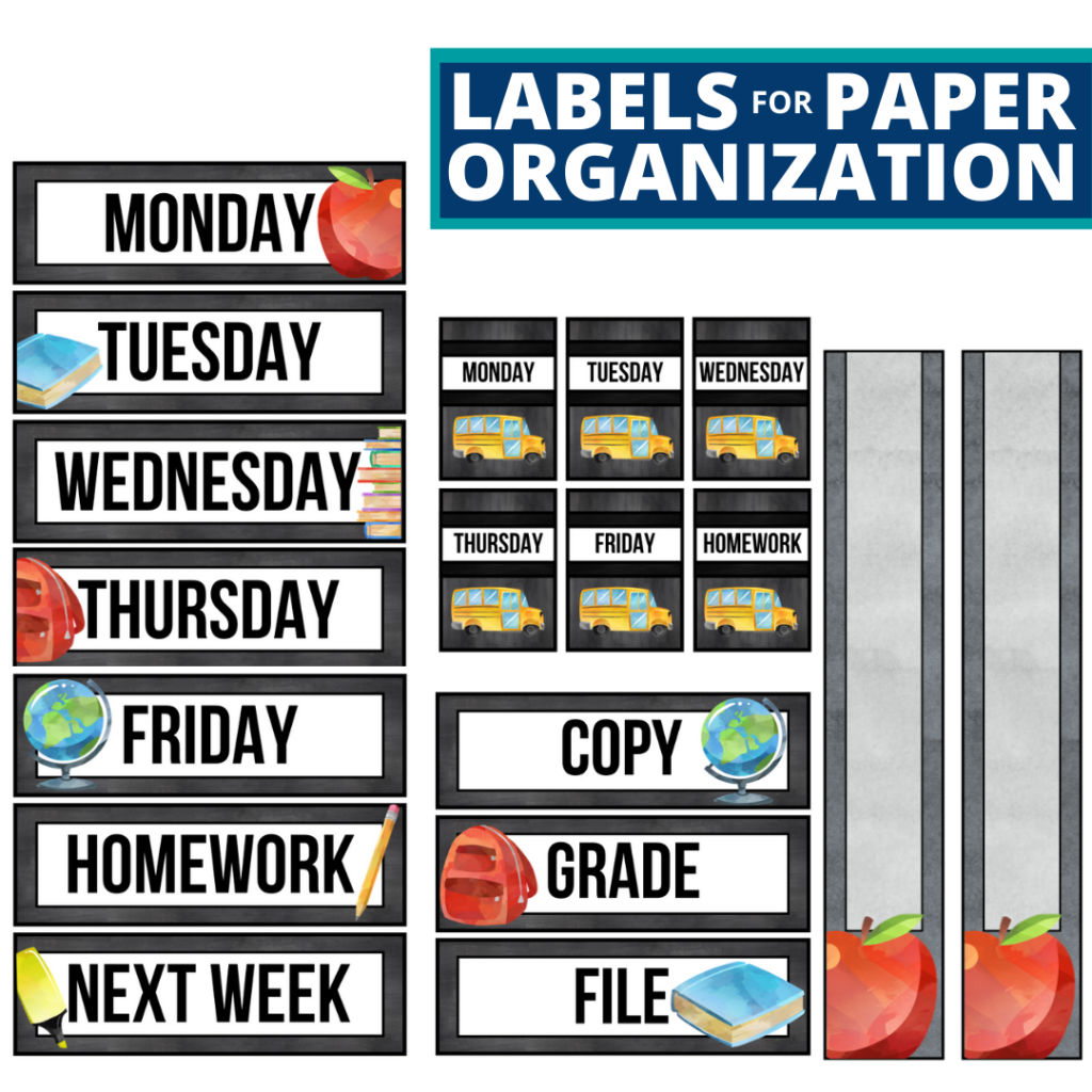 chalkboard theme labels for paper organization in the classroom